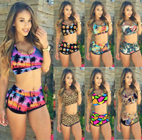 Women Crop Bra Tops Ladies Swimwear Bikini Set Swimsuit Shorts Bathing Beachwear