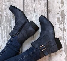 Blue Grey Ankle Boots Size 6 Buckle Denim Look Zip Up