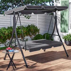 Garden Metal Swing Chair Outdoor 3 Seater Hammock Bed Patio Canopy Bench Lounger