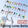 30Pcs Fishing Lure Spinnerbaits Bass Trout Salmon Hard Metal Spinner Baits Kit