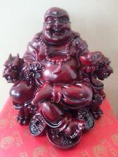 China Happy Buddha sitting On Dragon chair Statue 5H