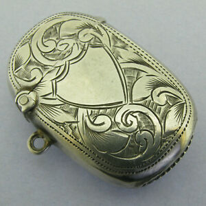 Antique Edwardian Solid Sterling Silver Vesta Matchsafe Fob Bir 1907