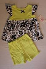 NEW Toddler Girls 2 pc Set 2T Shirt Shorts Outfit Yellow Black White Floral Top