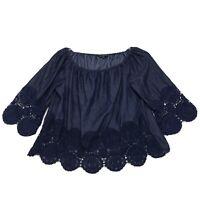 Chambray Dark Denim Wide Neck Off Shoulder Peasant Blouse Sz L Large Lace Trim