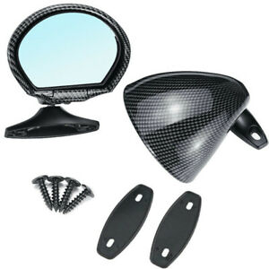 Classic Car Door Wing Side View Plane Mirror Blue Anti-glare 2Pcs Universal ABS