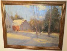 The Neighbor's Barn in Snow-Oil Painting-1980s-George Van Hook
