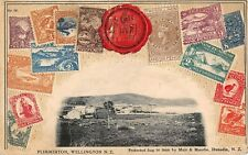 NEW ZEALAND EMBOSSED STAMP PC, VIEW OF PLIMMERTON & HARBOR WELLINGTON dated 1906