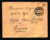 Germany 1917 POW Cover to France / Siegen / Multi Censor - Z14298