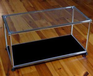 * USM Haller TV Glasregal Beistelltisch Schwarz / Glastablar * Glas Glasboden *
