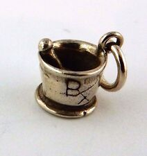 Sterling Silver Mortar and Pestle Rx pharmacy charm with jump ring