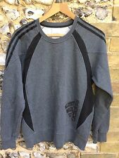 MENS ADIDAS GREY SWEATER SIZE SMALL CREW NECK PULLOVER JUMPER TOP S
