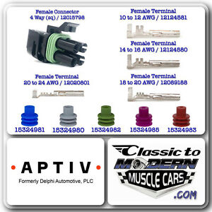 APTIV Delphi Weather Pack 4 Way Sq 10 Sets - Female of Connector /Terminal /Seal
