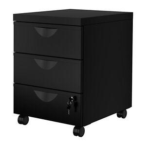Ikea ERIK Metal Home Office Filing Drawer Unit on Castors + Lock Cabinet,2colors