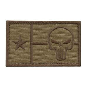 texas flag punisher 2x3 25 coyote tan morale lone star tactical US hook patch