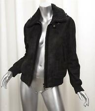 NEIL BARRETT Womens Black Shearling Leather Zip-Up High Collar Jacket Coat XS