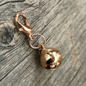 Rose Gold Real Bell Reminder to stay Present in the moment Clip Charm pendant