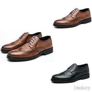 Men Wing Tip Brogue Lace Up Oxfords Flats Formal Dress Alligator Print Shoes New
