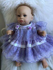 "CLOTHES New Born Baby /REBORN 16"" Two piece set.Lilac Fluer"