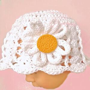 HAND CROCHETED BABY GIRL DAISY SUN HAT shower gift 100% cotton flower brimmed