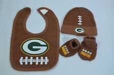 NFL FOOTBALL GREEN BAY PACKERS  Baby Bib Cap Hat + Bootie Shoes 0-6mnths NEW