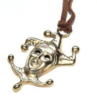 Collier original pendentif laiton couleur or Fou du Roi cordon marron necklace