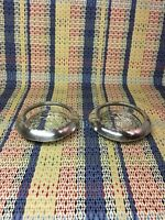 "2 ANSTON STERLING GLASS COASTERS . Slightly Polished 1930's-40's 3-3/4""x1"""