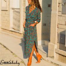 Boho Women Long Sleeve Floral Shirt Dress Split Beach Casual Midi Maxi Dress