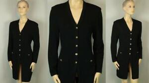 ST JOHN Black Santana Knit Logo Crest Button Up Long BLAZER JACKET Duster 8