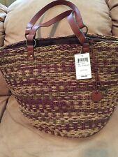 LUCKY BRAND KENYA Natural Brown Multi Leather LARGE TOTE SHOULDER BAG NWT