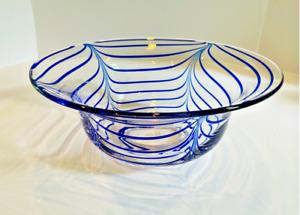 MMA METROPOLITAN MUSEUM OF ART Vintage Blue Looped Hand Blown Glass Bowl- 1980s