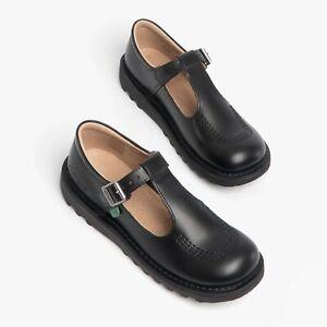 Kickers KICK T Girls T-Bar Leather School Shoes Black: EU 22 / UK 5
