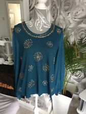 Ladies Teal/sequins Long Sleeved Top Size M/L FREE DELIVERY