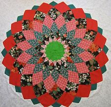 """Giant Dahlia Quilt Top (Sq White)PIECED~PATCHWORK~""""Christmas Dahlia""""~64""""X64"""""""