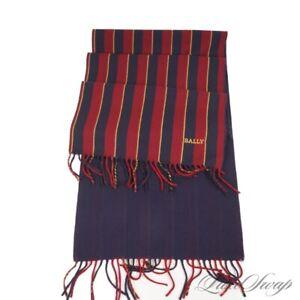 #1 MENSWEAR Bally Made in Italy Red Navy Gold Regimental Stripe Wool Scarf NR