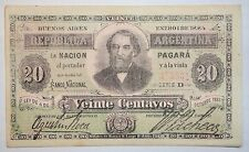 ARGENTINA NOTE 20 CENTAVOS 1884  AU  PICK 3  BAU BN-173