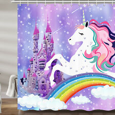 Girl Dream Unicorn Princess Castle Shower Curtain Fabric Bath Curtain & Hooks