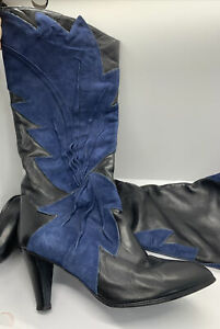 L'idea Sherida Womens Black/Blue Leather Vero Cuoio Boots Made In Italy Size 8.5