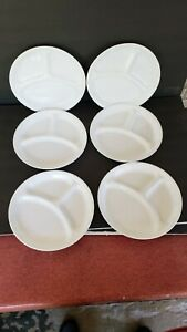 "(6) Corelle WINTER WHITE Grill Dinner Plates - 10 1/4"" -  Near Mint"