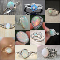 Women 925 Silver White Fire Opal Moon Stone Ring Wedding Engagement Jewelry Gift
