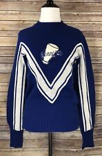Vintage Varsity Style Blue & White Sweater with Jennifer spelled out Sz 36