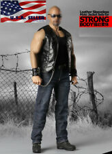 1/6 Leather Motorcycle Vest Jeans Set For PHICEN M34 M35 Muscular Figure ❶USA❶