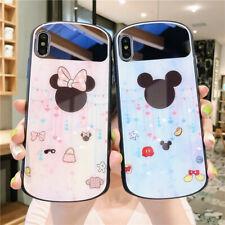 Para iPhone XR XS Max 7 8+ Caricaturas Disney maquillaje Espejo de Vidrio Templado teléfono caso