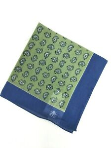 BROOKS BROTHERS Mens Blue Green Paisley Cotton Pocket Square Made in Italy NWT