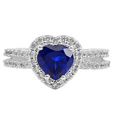 Tanzanite and Cz 925 Sterling Silver Ring s.8 Jewelry 6609