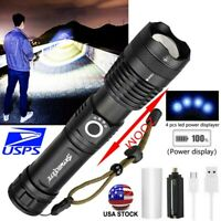 Tactical XHP50 Flashlight Zoomable 5Modes LED USB Rechargeable 26650 AAA Torch