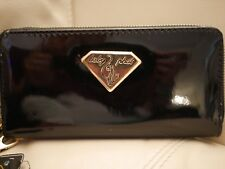 NEW WT WOMEN'S BABY PHAT ZIP AROUND WALLET WRISTLET BLACK PATENT LEATHER GOLD
