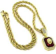 "Mens 14k Gold Plated Red Ruby Lion Face Pendant Hip Hop 24"" Rope Chain D418"