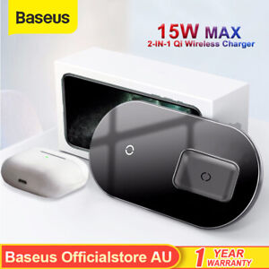 Baseus Wireless Charger 2in1 Qi 15W Fast Charging Pad for Airpods iPhone Samsung