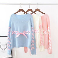 Womens Round Neck Fashion Lolita Ribbon Bow-knot Pullover Long Sleeve Sweaters