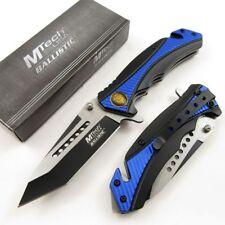 Spring-Assisted Folding Pocket Knife Mtech Black Tanto Blade Blue Police Rescue